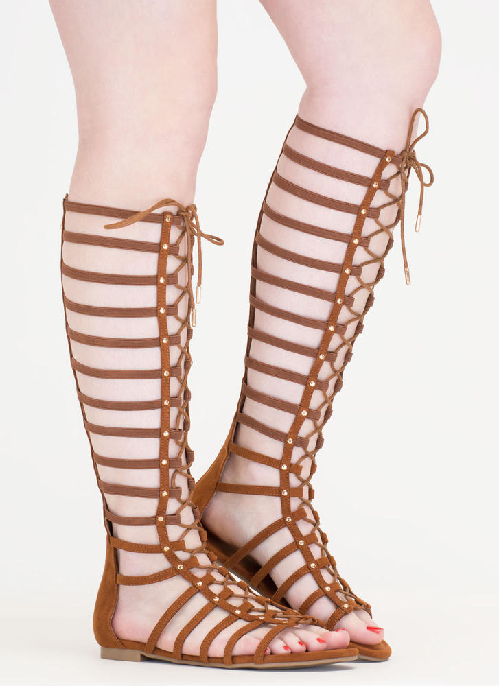 Power Pose Faux Suede Gladiator Sandals COGNAC
