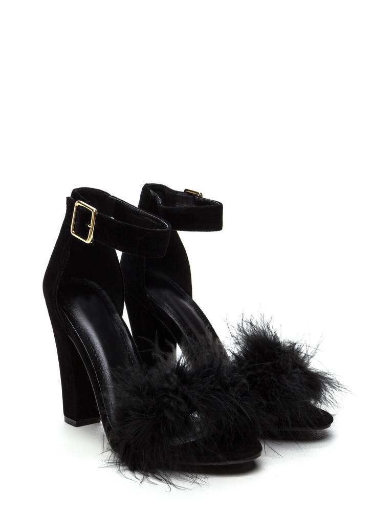 Flaunting Feathers Chunky Velvety Heels BLACK