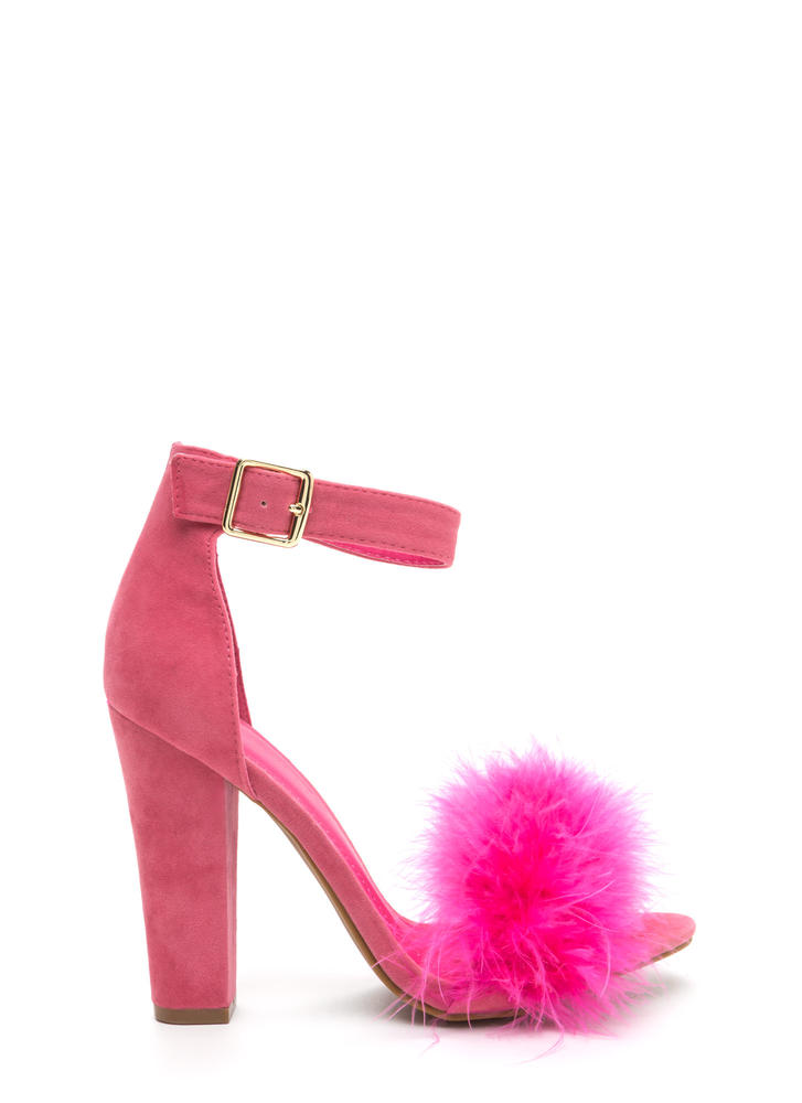 Flaunting Feathers Chunky Velvety Heels