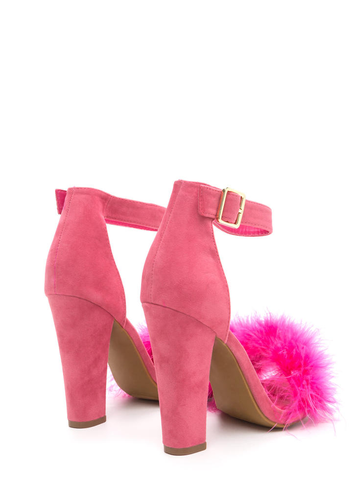 Flaunting Feathers Chunky Velvety Heels CORAL