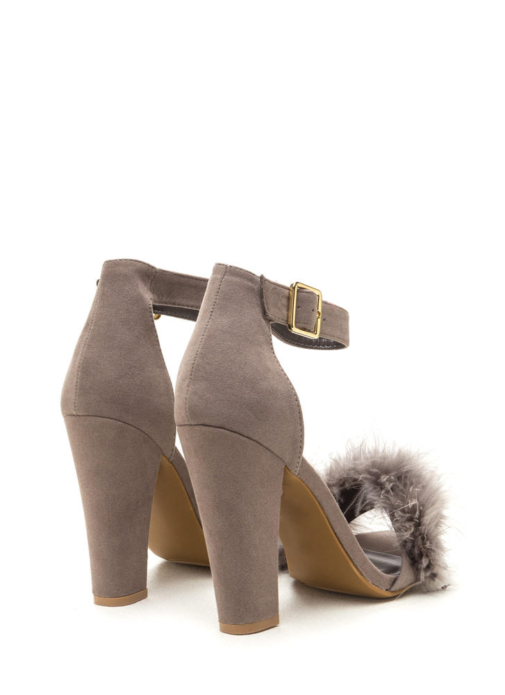 Flaunting Feathers Chunky Velvety Heels GREY