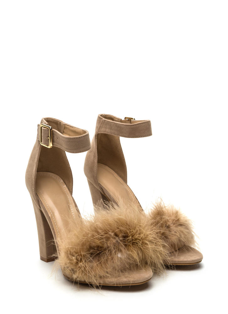 Flaunting Feathers Chunky Velvety Heels NUDE