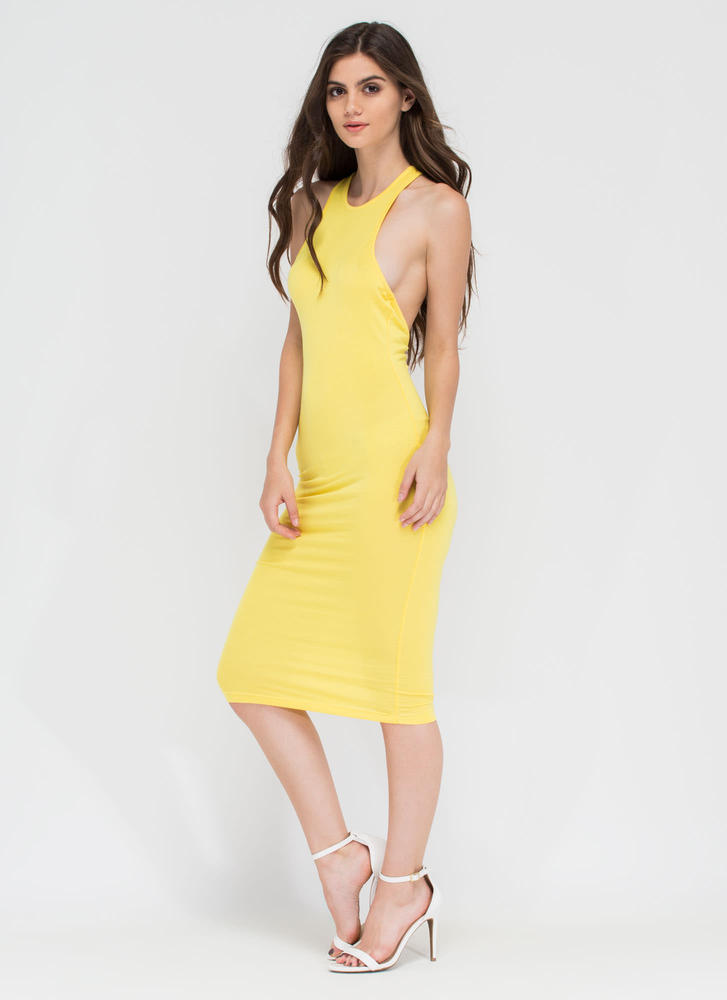 One-Sided Asymmetrical Cut-Out Dress YELLOW