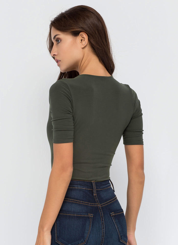 Keep It Close Plunging Bodysuit OLIVE