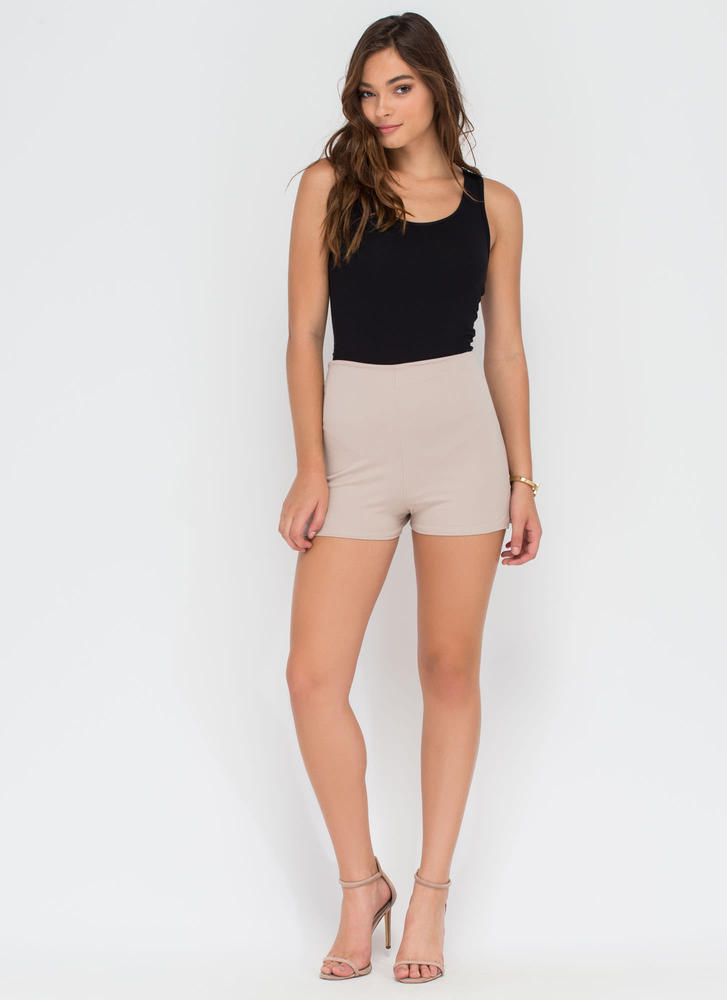 You're All Legs High-Waisted Shorts TAUPE
