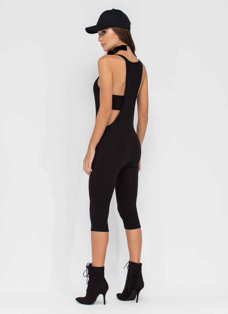 Rise To Power Cut-Out Romper BLACK
