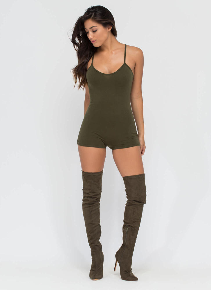 Beauty In The Basic Solid Romper OLIVE