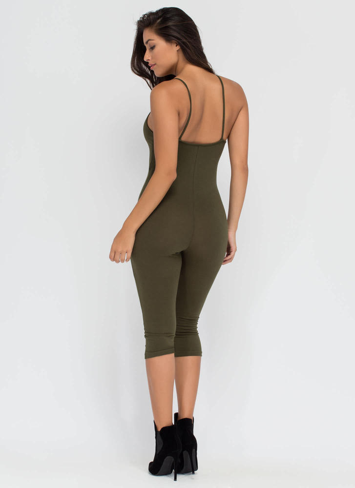 Eyes On You Basic Cropped Jumpsuit OLIVE