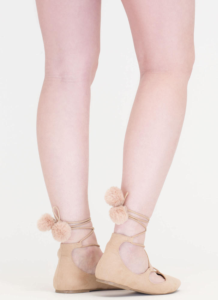 Like A Lady Lace-Up Pom-Pom Flats NATURAL