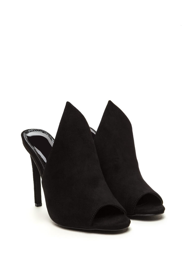 To The Point Faux Suede Mule Heels BLACK