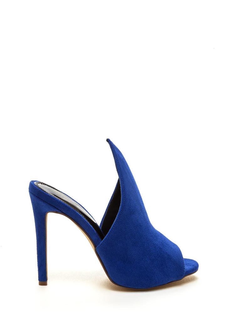 To The Point Faux Suede Mule Heels