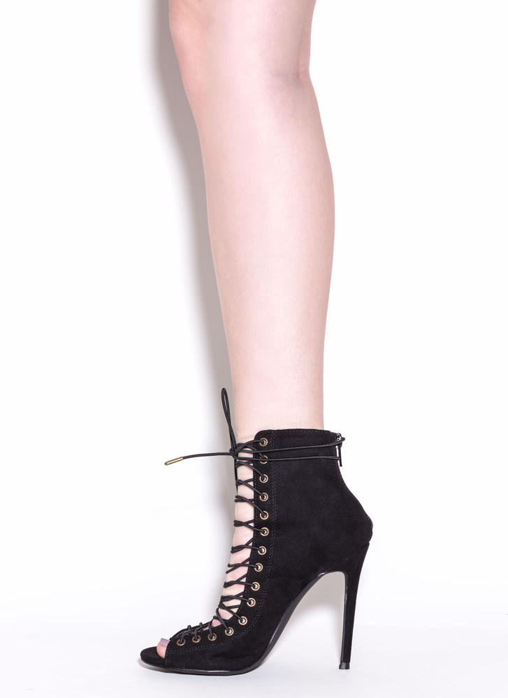 So In Step Faux Suede Lace-Up Booties BLACK