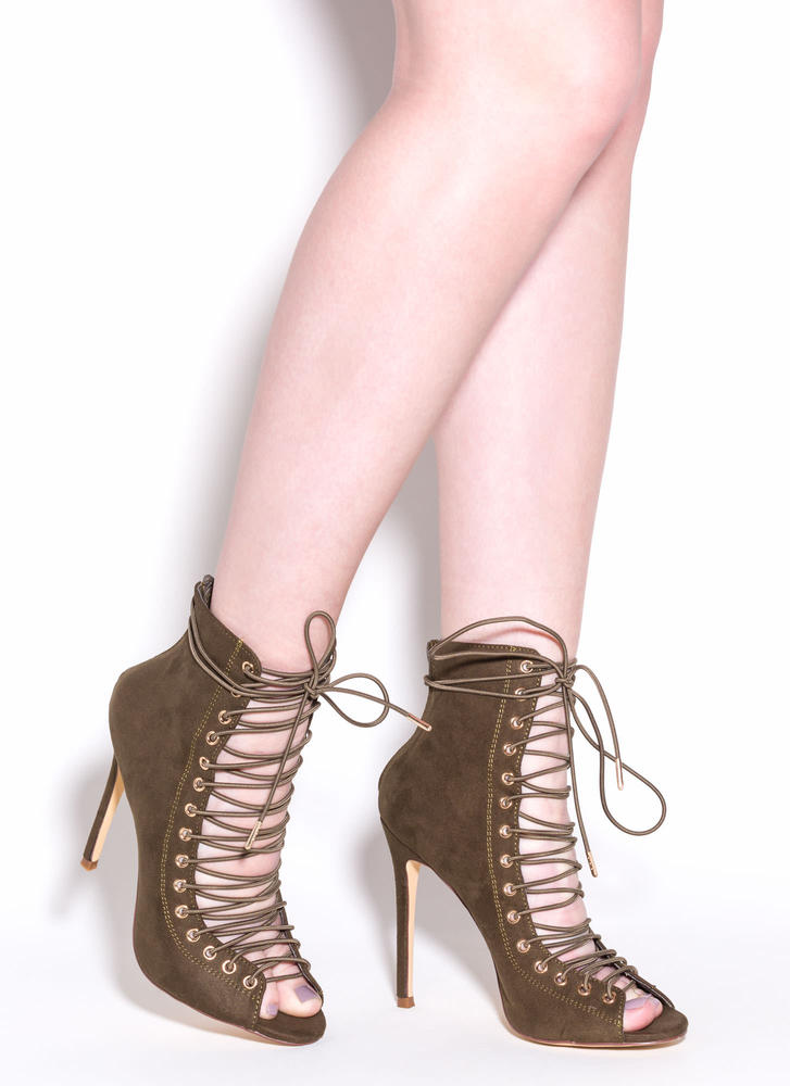 So In Step Faux Suede Lace-Up Booties OLIVE