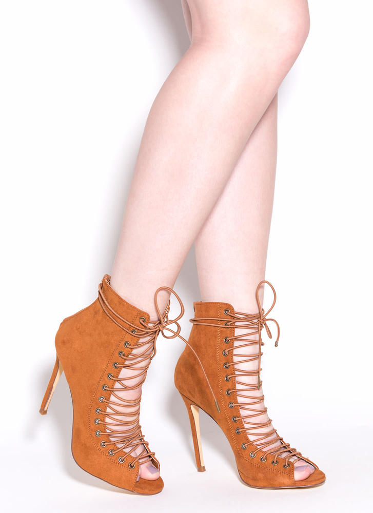 So In Step Faux Suede Lace-Up Booties