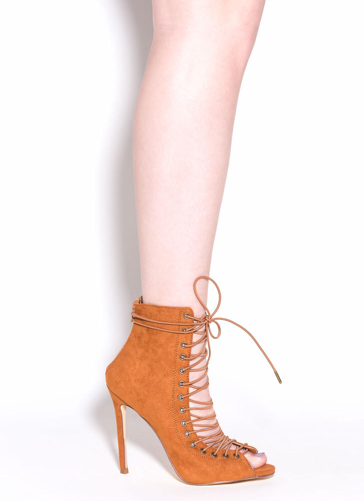 So In Step Faux Suede Lace-Up Booties TAN