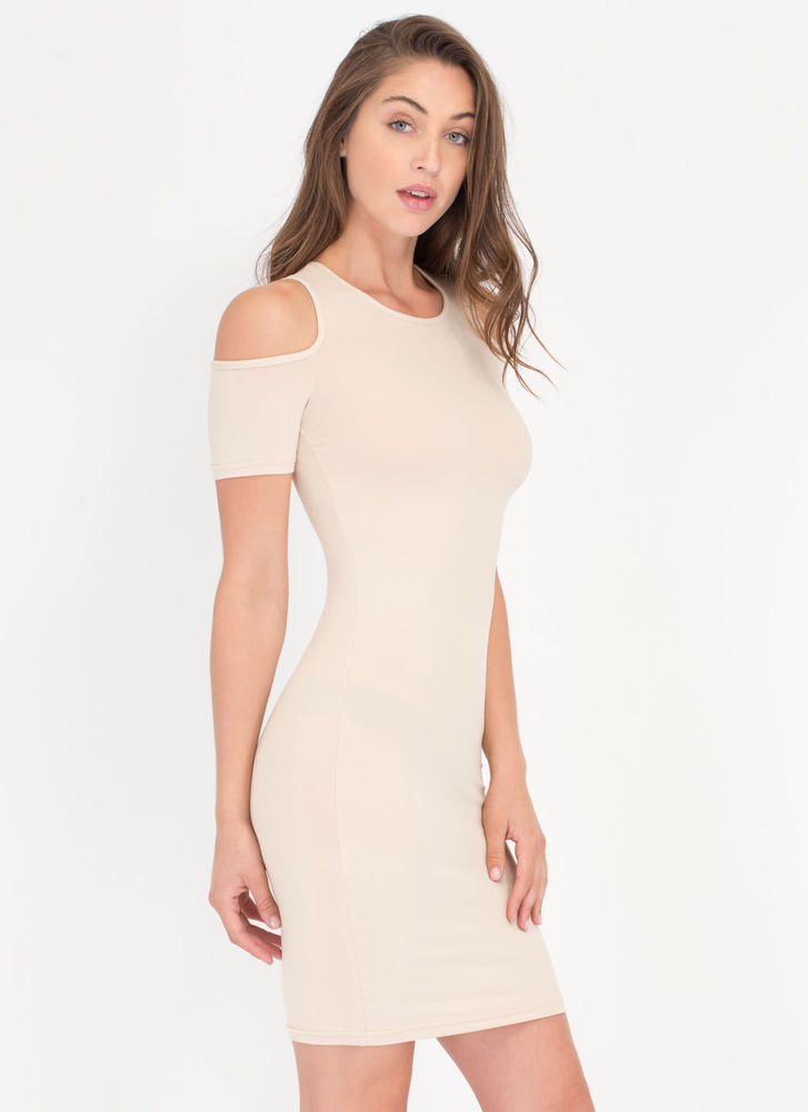 Catch Some Rays Cold Shoulder Minidress KHAKI