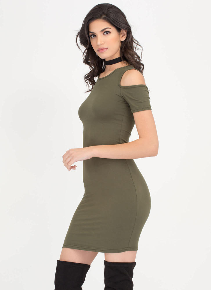 Catch Some Rays Cold Shoulder Minidress OLIVE