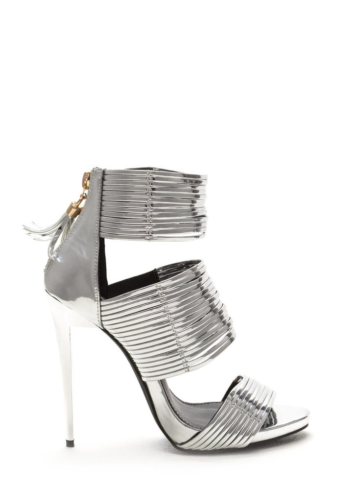 Dusk To Dawn Strappy Metallic Heels SILVER - GoJane.com