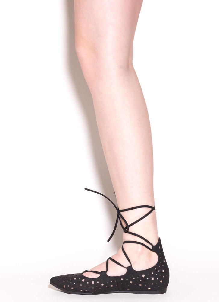 Totally Perf Lace-Up Faux Leather Flats BLACK