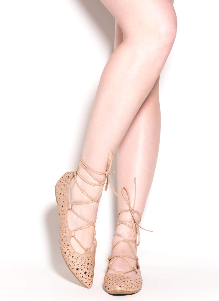 Totally Perf Lace-Up Faux Leather Flats NUDE