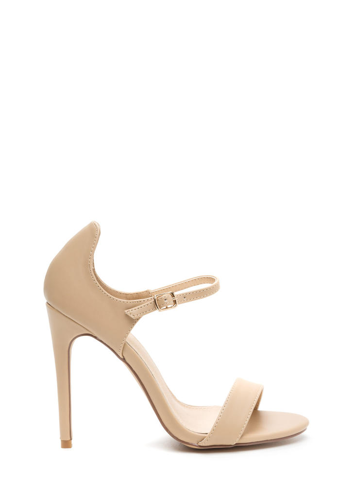 Time 'N Place Strappy Faux Leather Heels NUDE