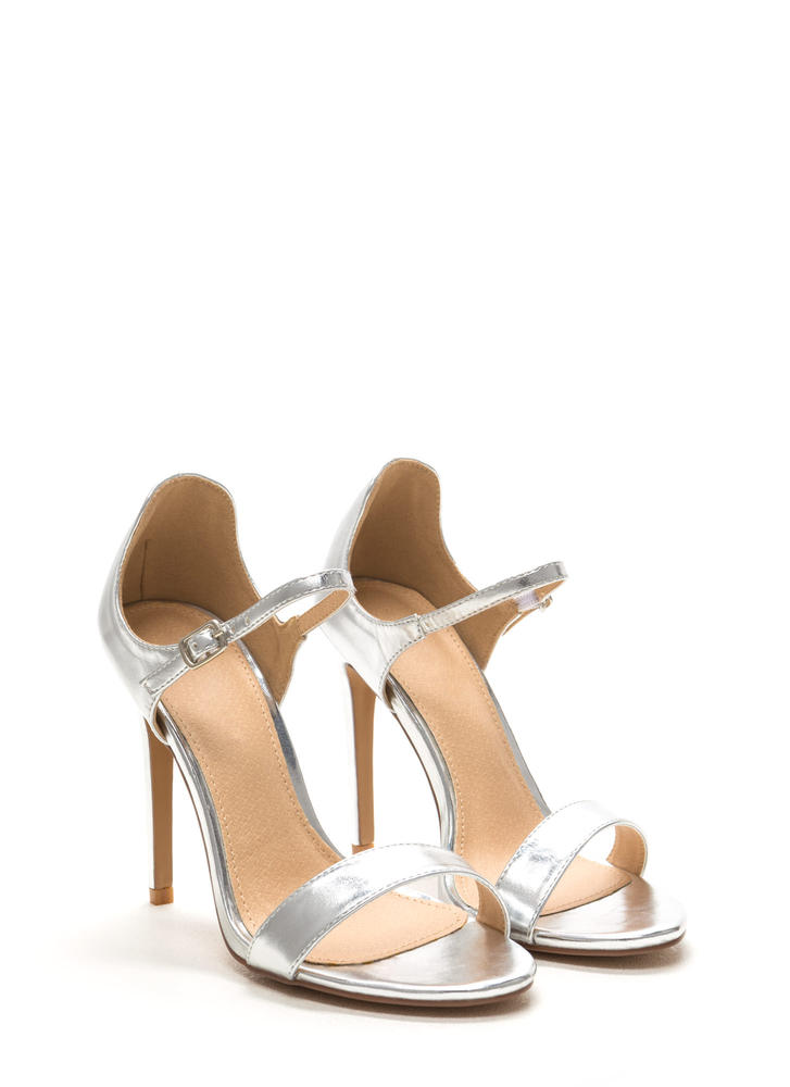 Time 'N Place Strappy Metallic Heels SILVER