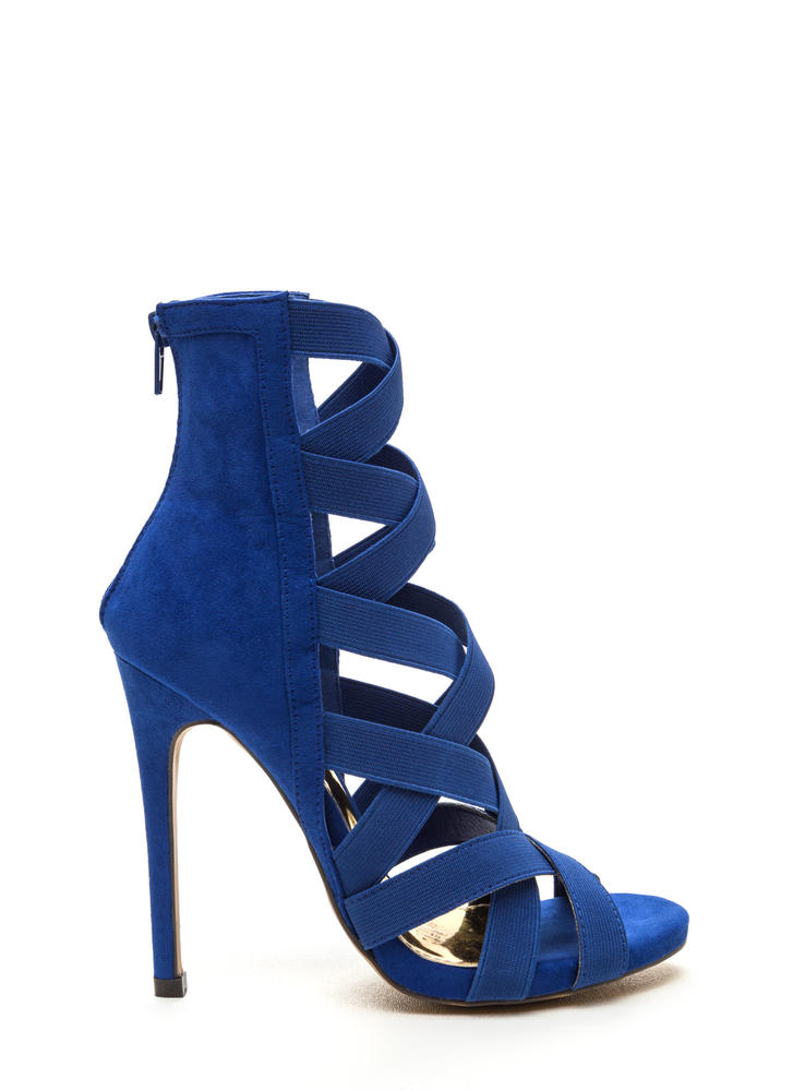 Night Life Caged Faux Suede Heels BLUE