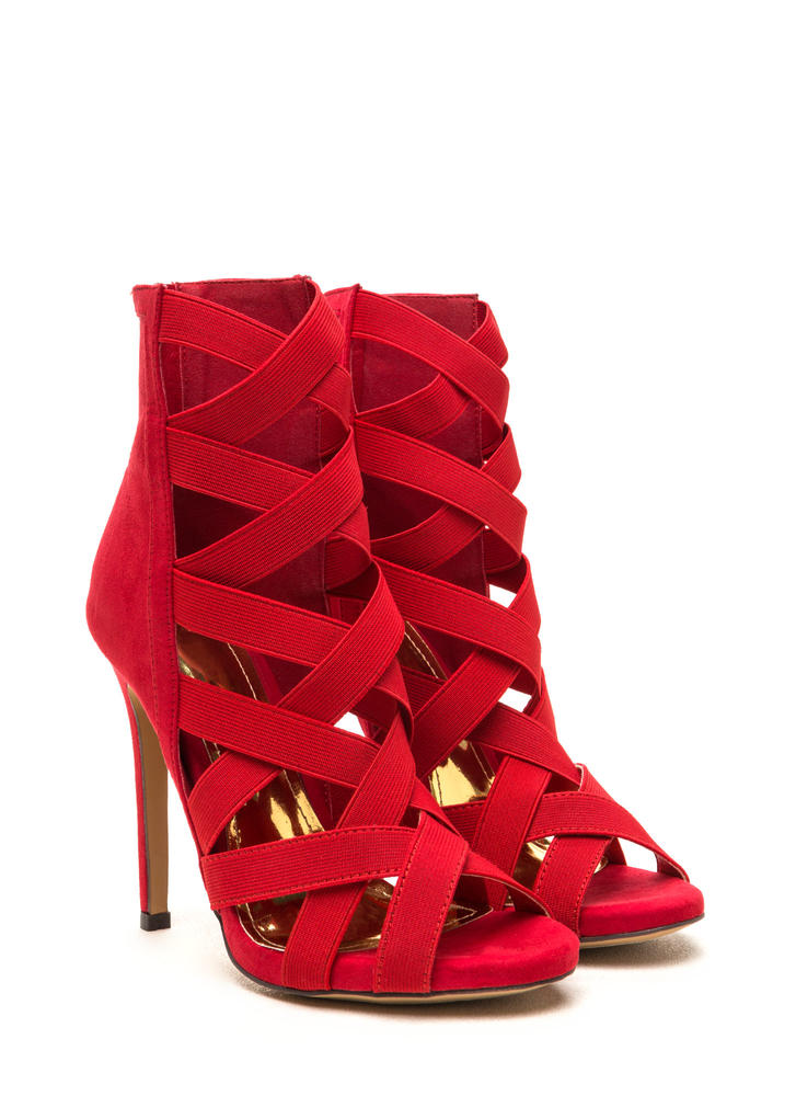 Night Life Caged Faux Suede Heels RED