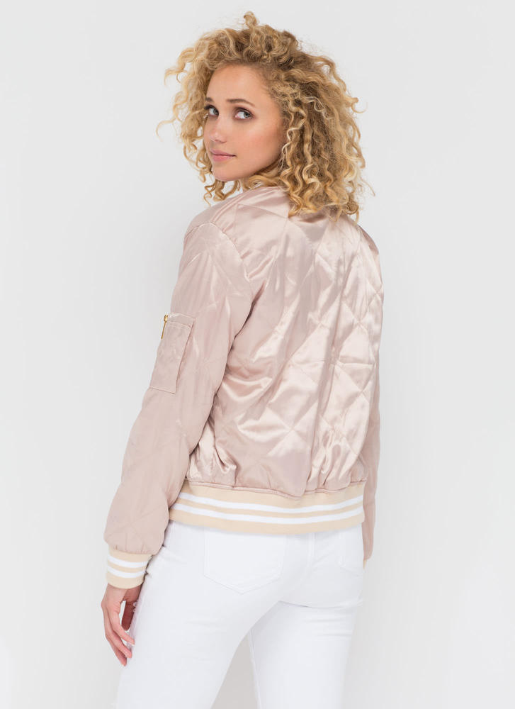 Quilty Pleasure Sporty Bomber Jacket KHAKI