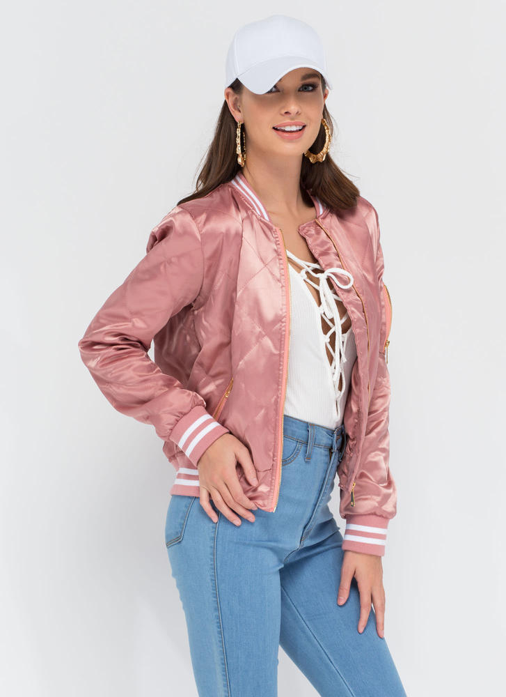 Quilty Pleasure Sporty Bomber Jacket MAUVE