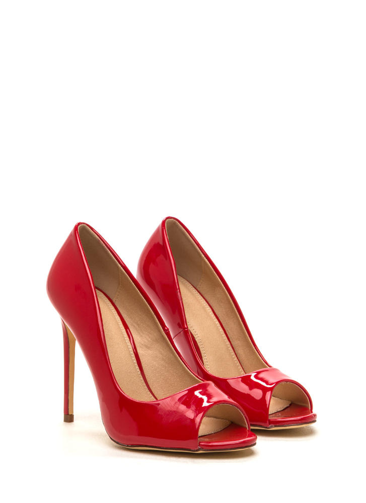 Peep Show Faux Patent Leather Pumps RED