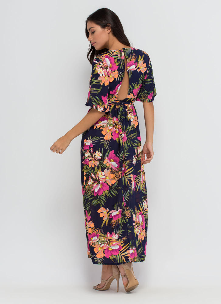 Aloha Paradise Plunging Floral Maxi NAVY (Final Sale)
