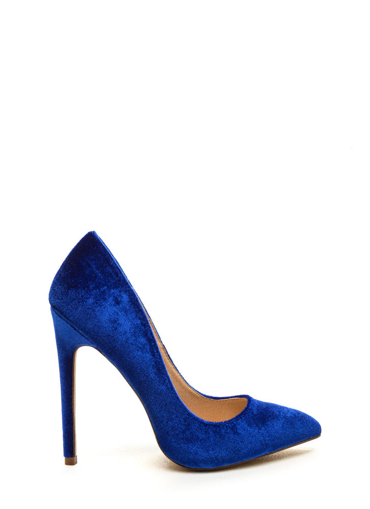 Head To Toe Pointed Velvet Pumps NUDE BLUE FUCHSIA GREY BLACK ...