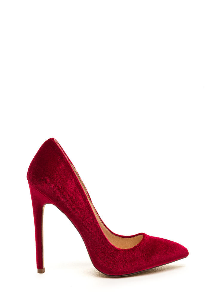 Head To Toe Pointed Velvet Pumps RED