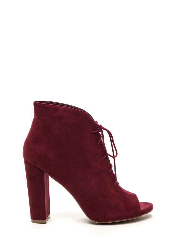 Sassy Strut Lace-Up Faux Suede Booties BURGUNDY