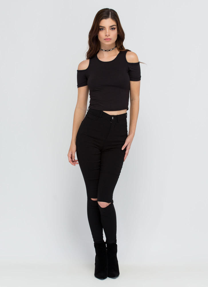 Piped Dream Cold Shoulder Crop Top BLACK