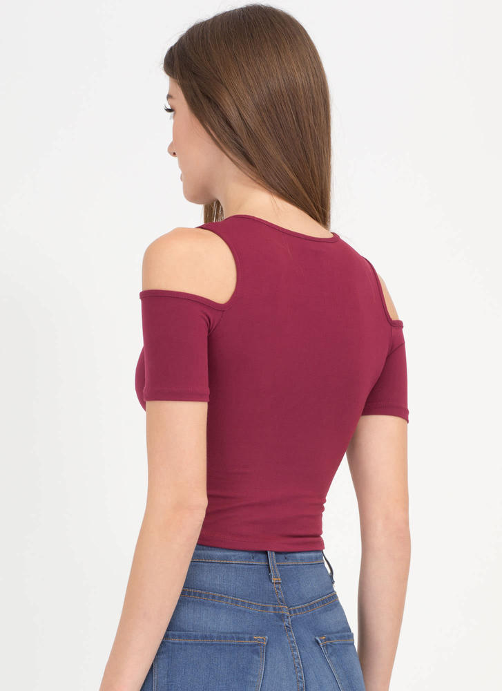 Piped Dream Cold Shoulder Crop Top BURGUNDY