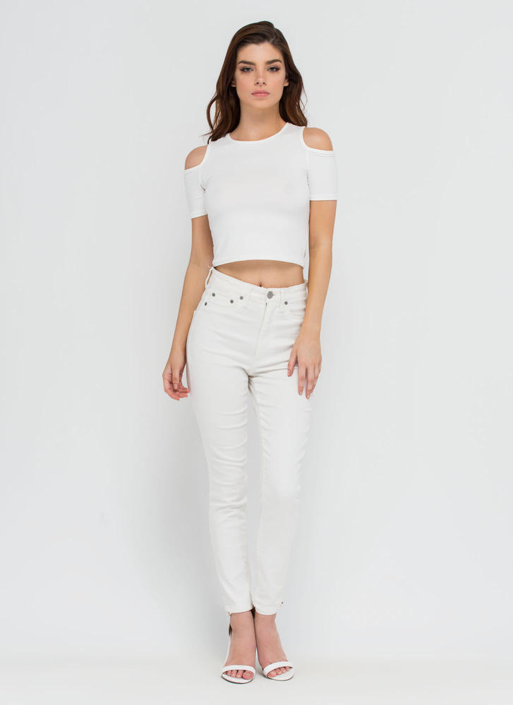 Piped Dream Cold Shoulder Crop Top WHITE