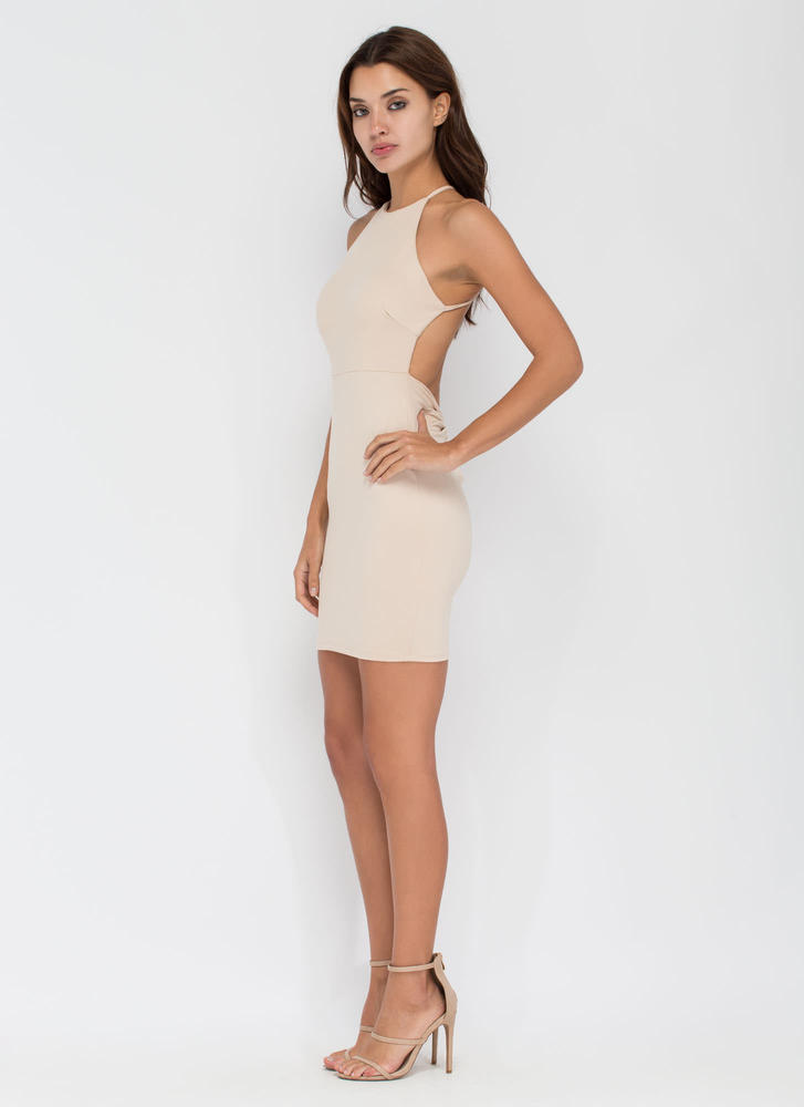 Easy To Be Knotty Open Back Minidress KHAKI