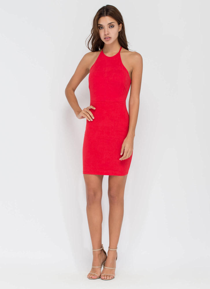 Easy To Be Knotty Open Back Minidress RED