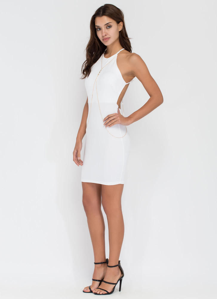 Easy To Be Knotty Open Back Minidress WHITE