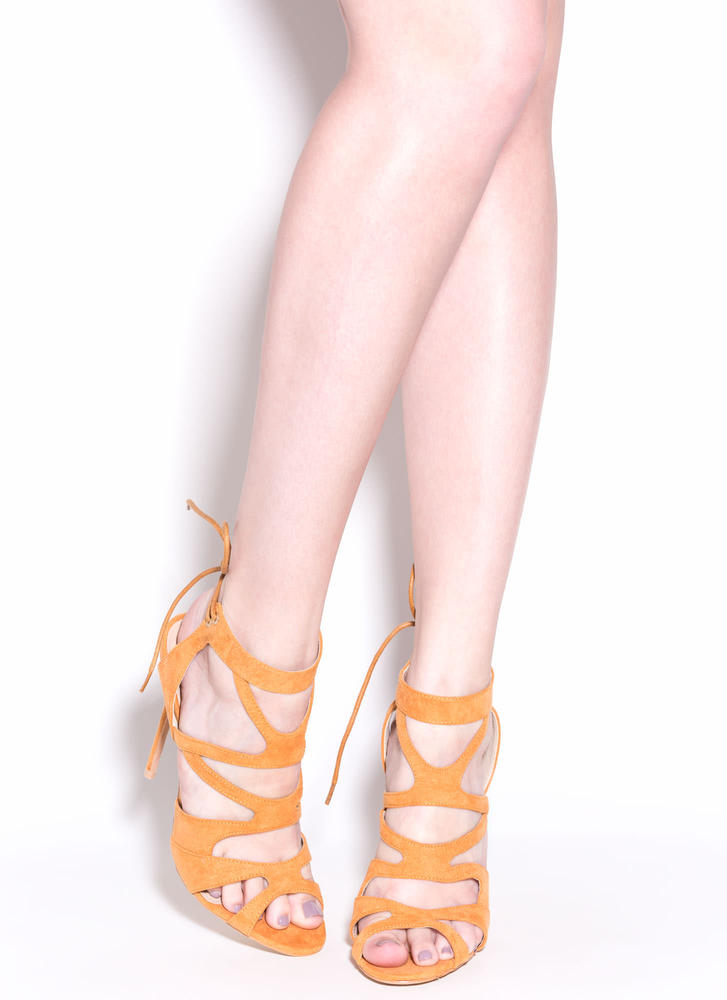 Thin Is In Caged Stiletto Heels CAMEL (Final Sale)