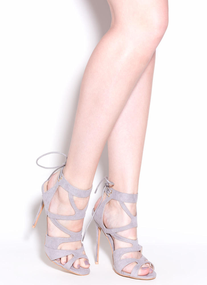 Thin Is In Caged Stiletto Heels GREY