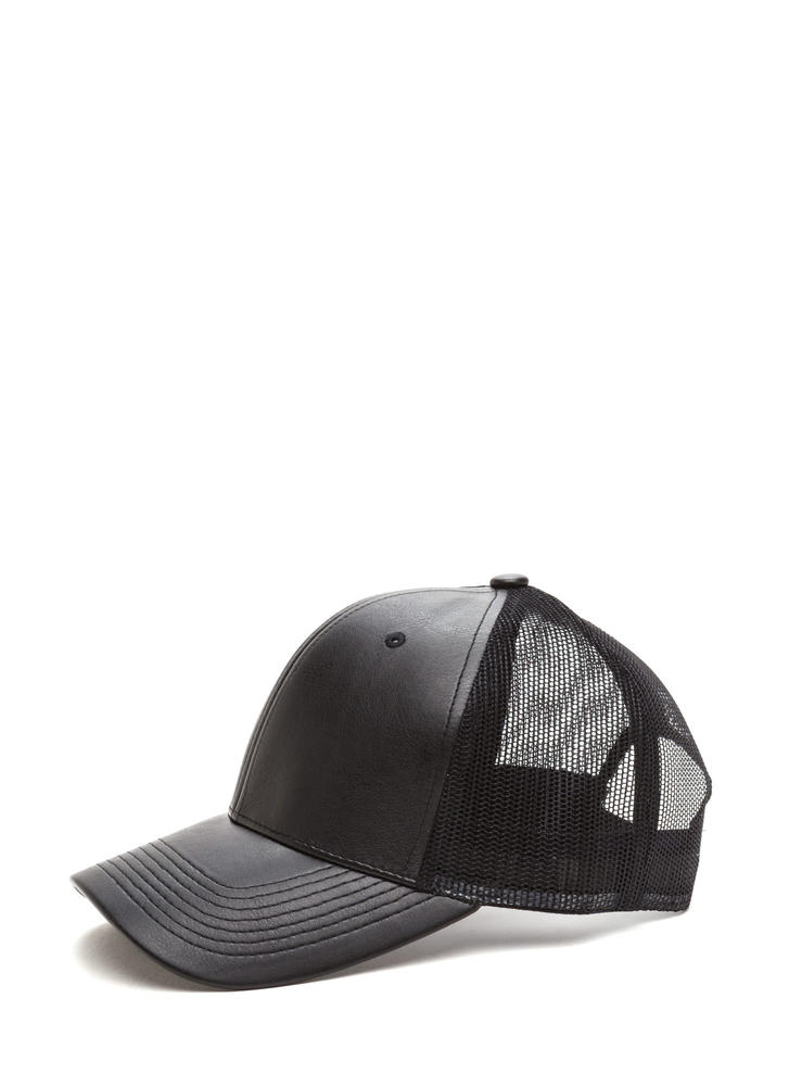 Cap Me Off Faux Leather Trucker Hat BLACK