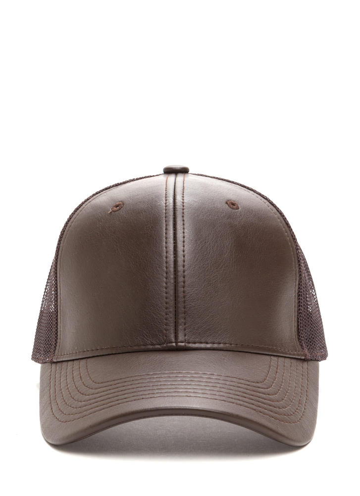 Cap Me Off Faux Leather Trucker Hat DKBROWN