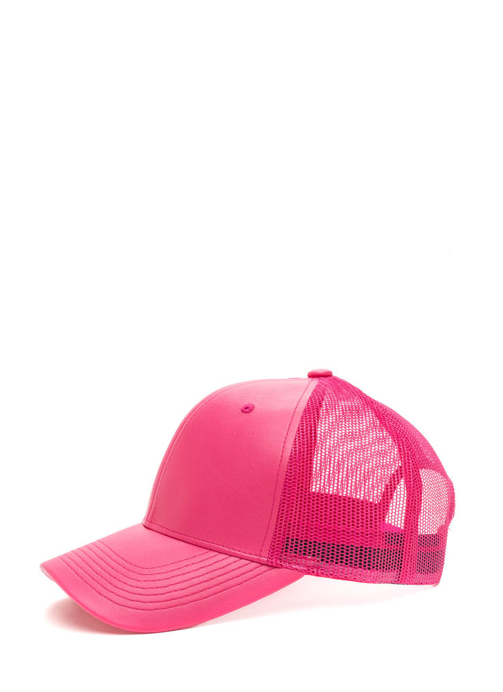 Cap Me Off Faux Leather Trucker Hat