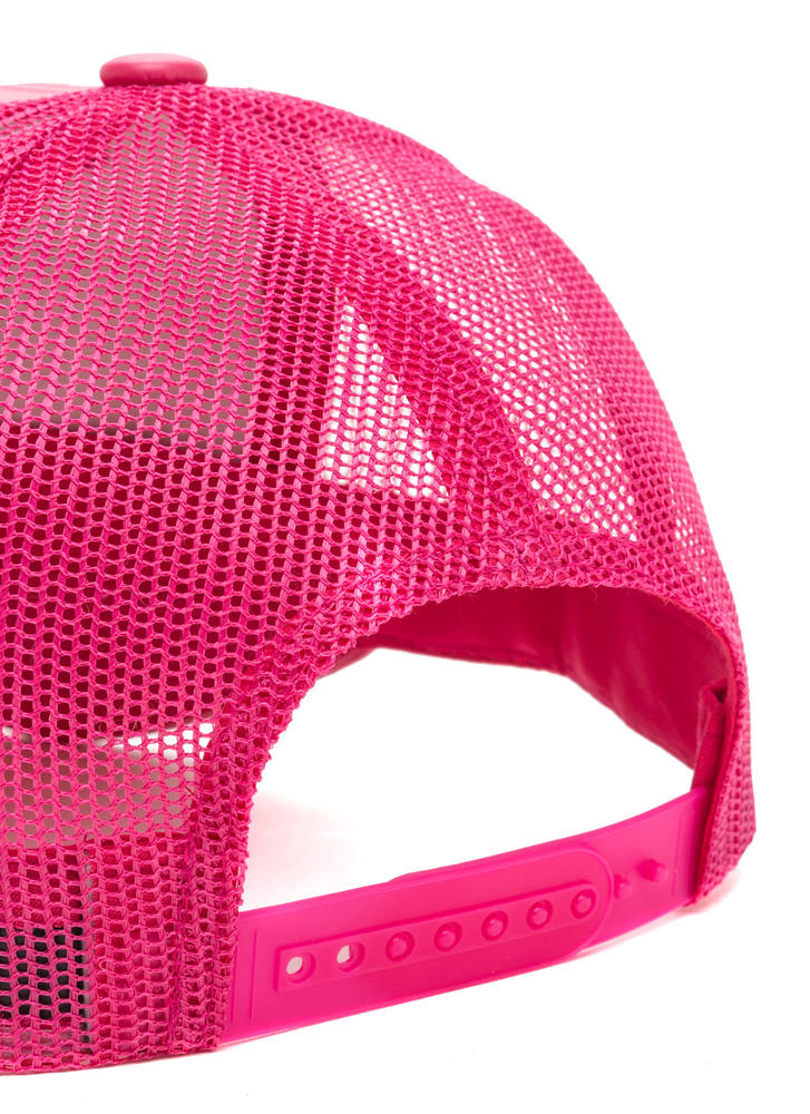 Cap Me Off Faux Leather Trucker Hat PINK