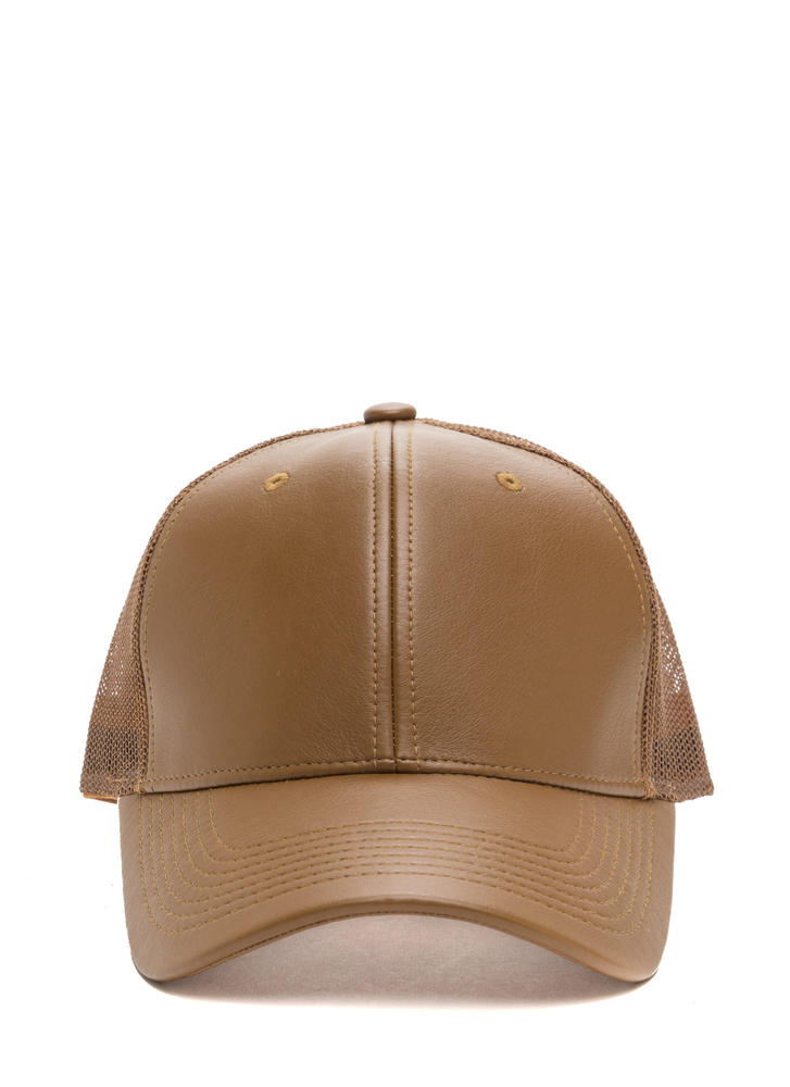 Cap Me Off Faux Leather Trucker Hat TAN