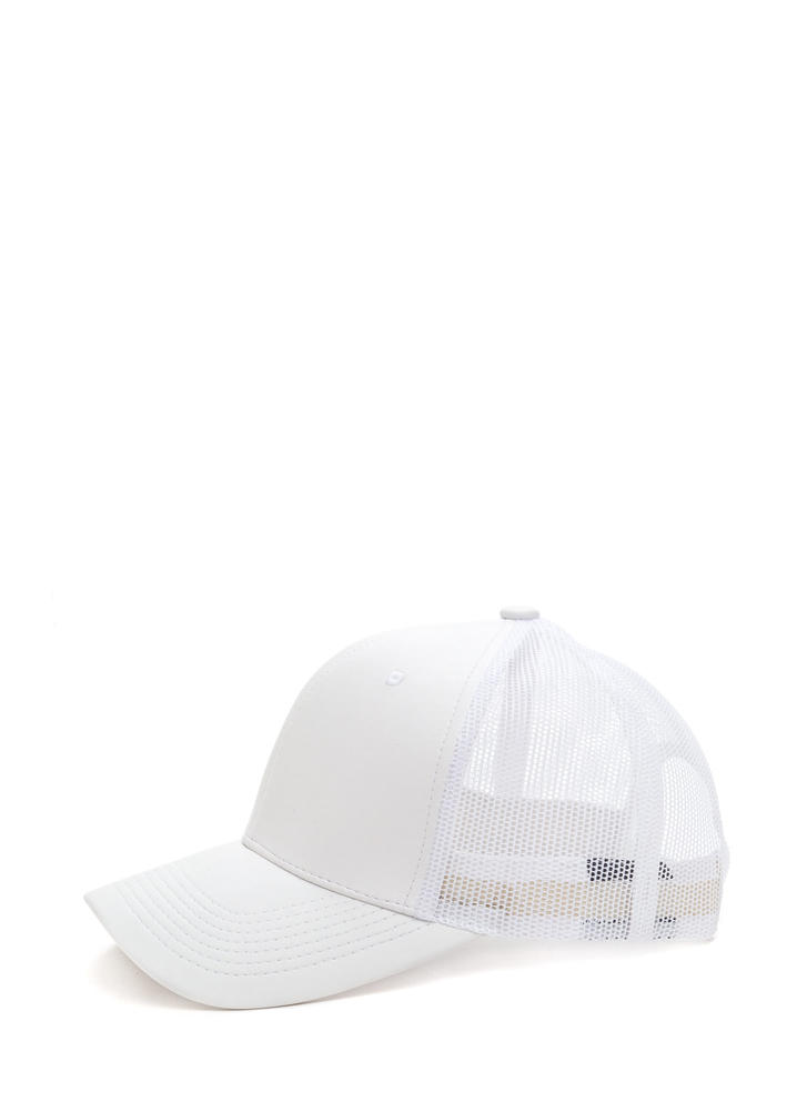 Cap Me Off Faux Leather Trucker Hat WHITE
