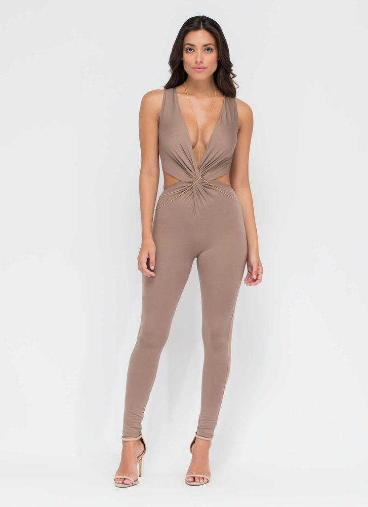 Plot Twist Plunging Cut-Out Jumpsuit TAUPE